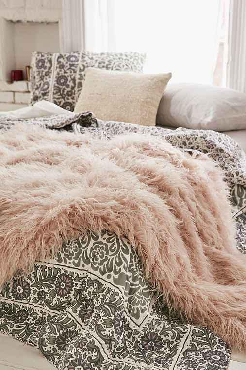 Faux Lamb Fur Throw Blanket From Urban Outfitters Delectable Dusty Pink Throw Blanket
