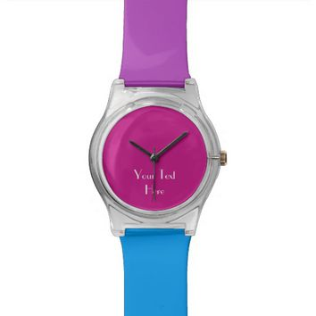 Add Your Image, Your Text, Custom Watch Hot Pink