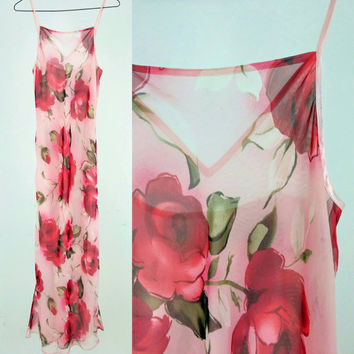 Sheer Floral Pink Maxi Slip Dress / Small