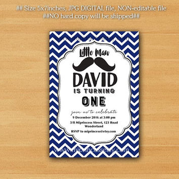 Little Man Mustache Birthday Invitation any age, 1st 2nd 3rd 4th 5th 6th 7th Mustache Invitation Design or Baby shower  - card 195