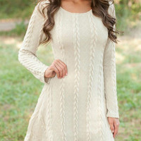 Cream Cable Knit Long Sleeve Sweater Dress