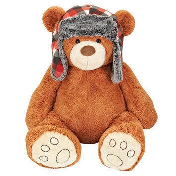 Toys R Us Plush 26 inch Bear with Woven Hat - Brown/Red