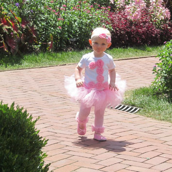 GIRLS Pink Shabby Rose Personalized 1st First or 2nd second Birthday Flower/One Baby Onesuit Toddler Shirt 1st First/2nd  Party Outfit / Tutu