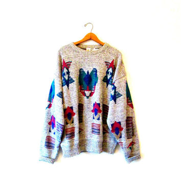 Vintage 1980s London Fog Aztec Graphic Marled Sweater Sz L