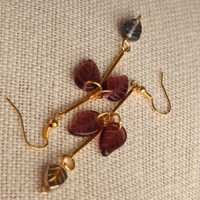 Handmade Beaded Leaf Gold Earrings | peaceloveandallthingsjewelry - Jewelry on ArtFire