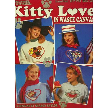 Kitty Love in Waste Canvas - Counted Cross Stitch Leaflet - Leisure Arts