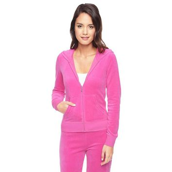 Juicy Couture Fw2017 Velour Tracksuit 2pcs Studded Paddy Juicy Logo Women Suits Rose - Best Deal Online