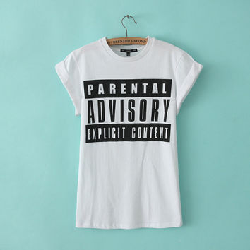 Summer Alphabet Print Round-neck Short Sleeve Cotton T-shirts [6047783489]
