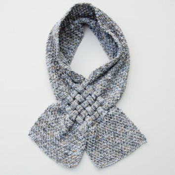 Hand Knit Scarf - Grey Speckled Fine Knitted Scarf - Winter Accessories for Women - Adult Scarf - Gray Scarves - Handmade Scarves