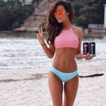 HOT CUTE TWO PIECE BLUE PINK BIKINIS
