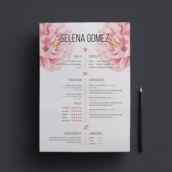 Elegant floral CV and Cover Letter template /professional cv template/ Creative Cv / Modern Cv / Instant Download / 1 page resume