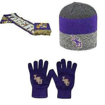 Licensed NCAA LSU Tigers Spirit Scarf Sunset Beanie Hat And TOW Knit Glove 3 Pack 26326 KO_19_1