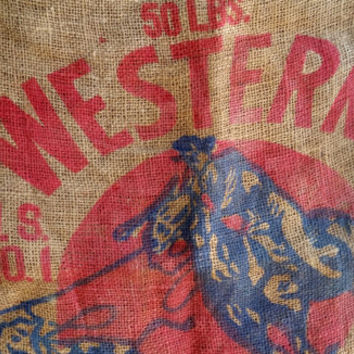 Burlap Sack, Vintage Cowboy Potato Sack; Rustic Country Western Farm Cottage Decor