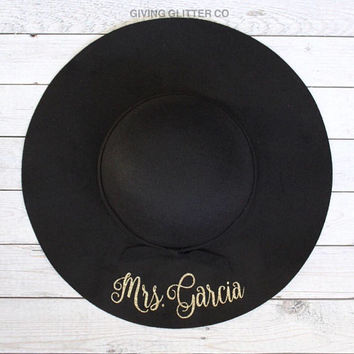 Mrs. Personalized // Floppy Hat - Cute Hat - Custom Hat - Bride To Be Hat - Bachelorette Hat