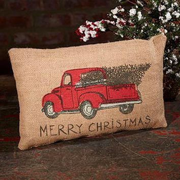 red truck christmas holiday decor vintage burlap accent throw pillow 12 in x 8