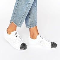 Adidas | adidas White Superstar Trainers With Silver Metal Toe Cap at ASOS
