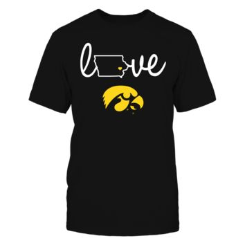Iowa Hawkeyes - Love With State Outline - T-Shirt - Officially Licensed Fashion Sports Apparel