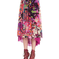 Sleeveless Scoop-Neck Knit Top & Abstract Printed Handkerchief High-Low Skirt
