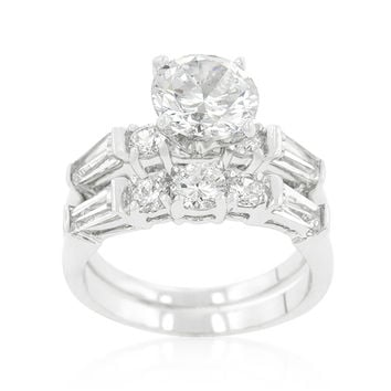 Odessa Round Baguette Engagement and Wedding Ring Set | 4ct | Cubic Zirconia | Silver