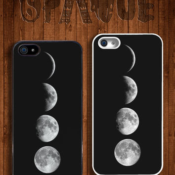 4 Moon Phases Apple iPhone 5 5s & 4 4s Durable Hard Case - In Multiple Colours - Hipster Indie Grunge Vintage Tropical Summer Tumblr