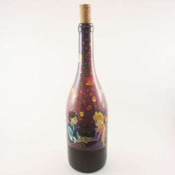 Hand Painted Disney Inspired Up-Cycled Wine Bottles: I See The Light, Tangled