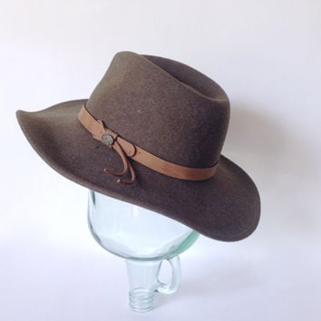 Wide Brim Hat - Bailey - Brown Crease Crown Fedora - Wool Felt Cap - Leather Strap - Southwestern Cowboy - Medium - Made in USA
