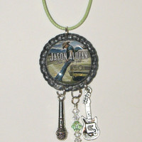 Jason Aldean-Lets Take a Little Ride- Antique Silver Colored Bottle Cap Necklace With Music Charms And Swarvorski Crystals Hanging Down