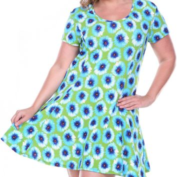 Women's Fit and Flare Plus Size Dress Green Short Sleeve