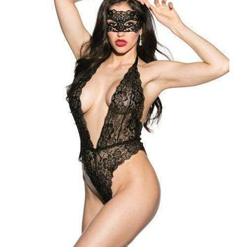 Shirley of Hollywood Floral Lace Teddy w/Mask Black