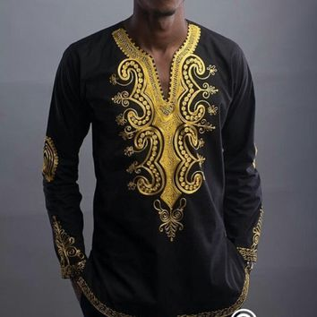 American foreign trade African national wind printing V collar long sleeved shirt for men selling eBay hot selling