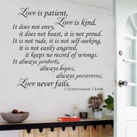 "Love Is Patient Love Is Kind Christian Bible Verse Vinyl Decal Wall Sticker Words Letters - Black Matte, 24"" wide by 22"" tall"