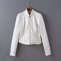 White PU Faux Leather Ruffled Zipper Jacket