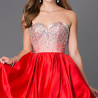 Short Strapless Sweetheart Dress with Jewel Embellished Bodice