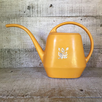Watering Can Mid Century Watering Can Vintage Orange Plastic Watering Can Vintage Water Pitcher Flower Pot Garden Decor Cottage Chic