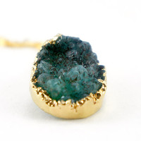 Mystery Green - Natural Druzy Quartz Crystal - Rough Cut Rock Nugget Necklace OOAK - Green Druzy Necklace - SDN46