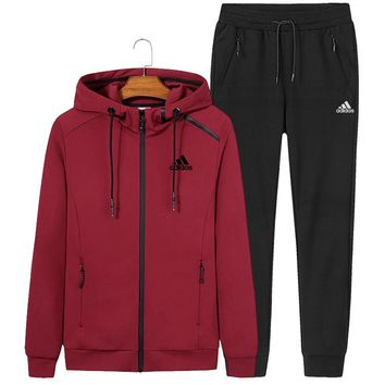 ADIDAS autumn and winter new sports and leisure men and women models hooded sportswear two-piece red