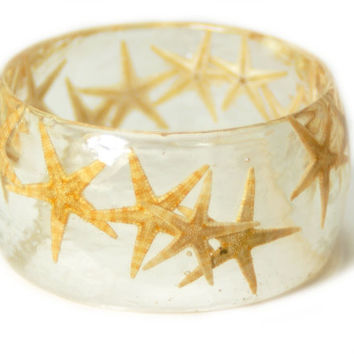 Starfish Bracelet- Starfish Bangle- Star FishJewelry- Resin Jewelry- Flower Bangle- Tan Resin Bracelet