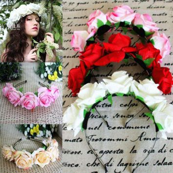 DKLW8 Rose Floral Flower Garland Crown Headband Hair Band Bridal Festival Holiday Headwear