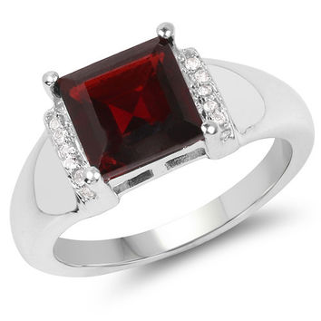 2.90 Carat Genuine Garnet & White Topaz .925 Sterling Silver Ring