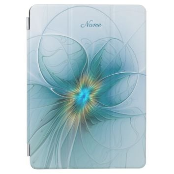 The Beauty Modern Blue Gold Fractal Flower Name iPad Pro Cover