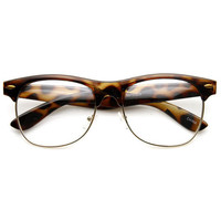 Classic Dapper Vintage Clear Lens Clubmaster Glasses 8770