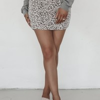 Race To Win Taupe Leopard Skirt