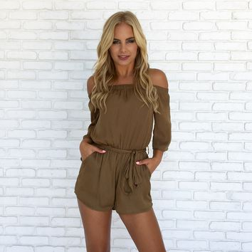 Bronzed Beauty Romper in Golden Olive