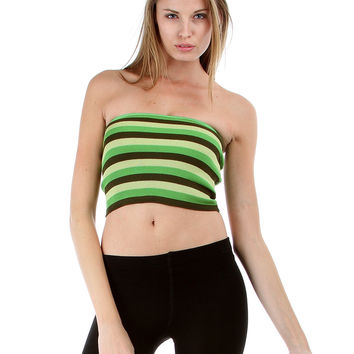 GREEN STRIPE FITTED STRAPLESS CROP TOP