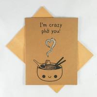 Pho, Funny Card, Funny Greeting Card, Greeting Cards, Pun Card, Cute Card, kawaii, glitter, Vietnamese food, Asian