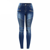 Women Moto Stretchy Jeans