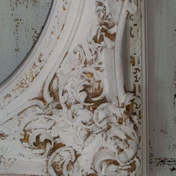 Large ornate white frame shabby chic distressed unique architectural element wall home decor Anita Spero