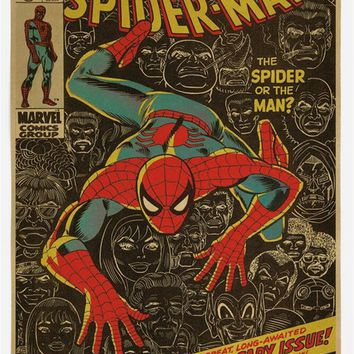 Vintage Classic Comics Famous Superhero Spiderman Poster Bar Cafe Kid's Room Home Decor Retro Kraft Paper Wall Sticker 51x35cm