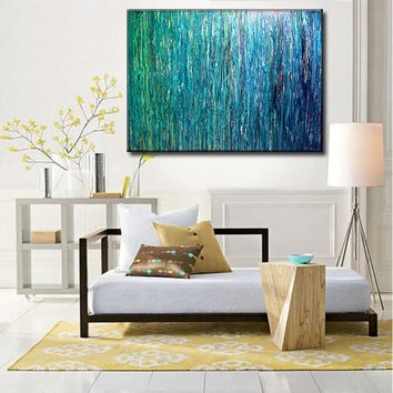 OVERSIZE ORIGINAL abstract Painting, Contemporary Fine Art,  Modern Blue, Green Abstract by Henry Parsinia  48X36