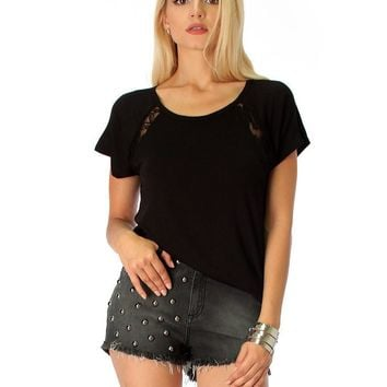 Lyss Loo Check Out My Lace Accents Black Tunic Top